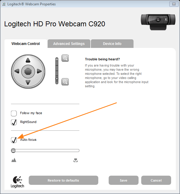 Logitech Webcam Control Auto-focus Properties