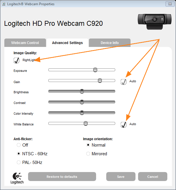 Logitech Webcam Properties Advanced Settings