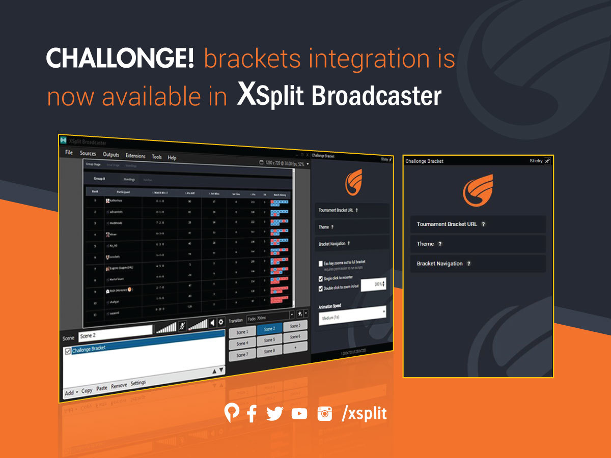 Challonge Integration with XSplit Broadcaster