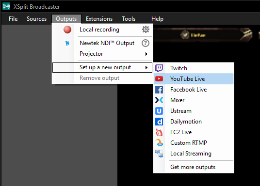 YouTube Live XSplit step 1