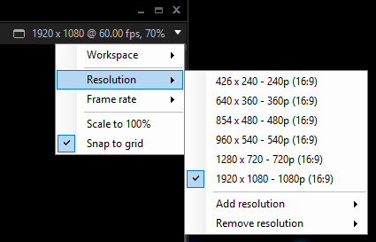 XSplit Broadcaster resolution settings