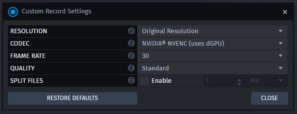 XSplit Gamecaster custom record settings