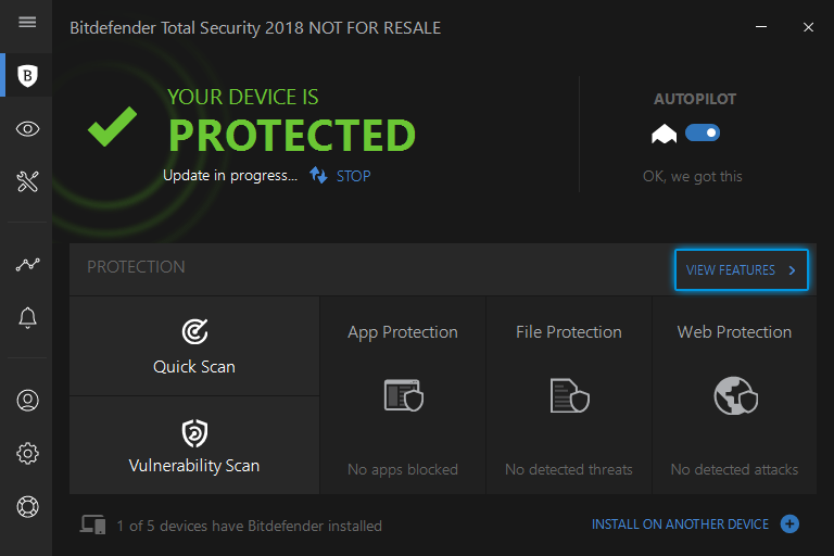 Click on VIEW FEATURES on the Protection tab on Bitdefender.