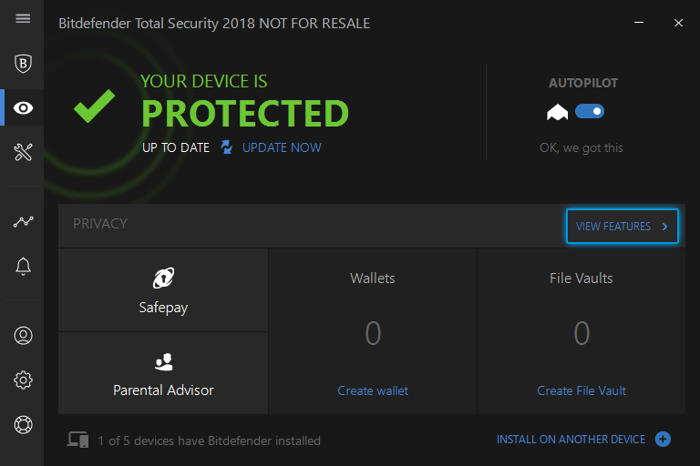 Click on VIEW FEATURES on the Privacy tab on Bitdefender.