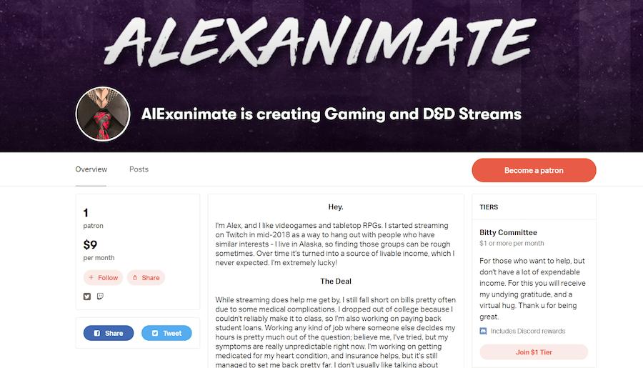 Alexanimate's Patron