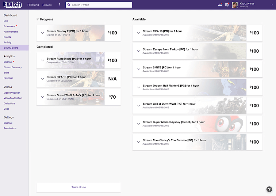 Twitch bounties